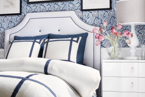 White headboard with navy features.