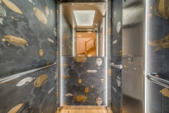 fabulous wallpaper in the lift, all wallpapers supplied by Collette Ward Interiors